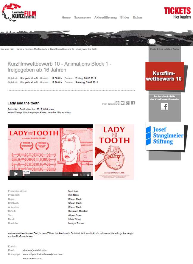 Lady and the tooth landshuter film festival