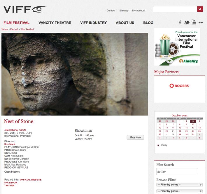 Nest of stone  VIFF 2014